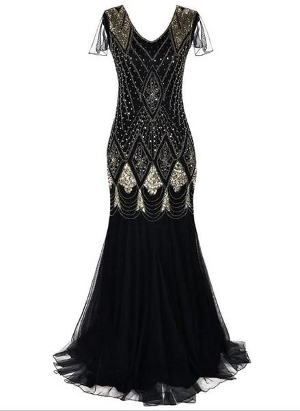 453cdc3c7ac Maxi robe sequins style années 20    Robe longue bleu nuit    Robe de  cocktail noire tulle